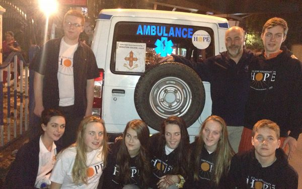 Midleton College, with leader Martin Preston, who support the Night Watch ambulance, part of the Child Watch Project.